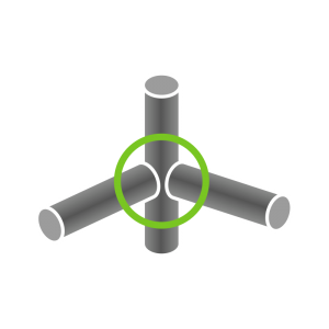 Knoten-Verb. 90° (3+ Rohre)